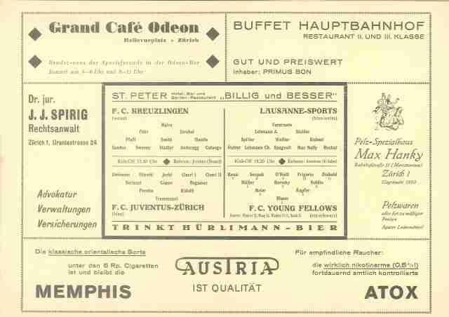 Matchprogramm YF FCK 1934